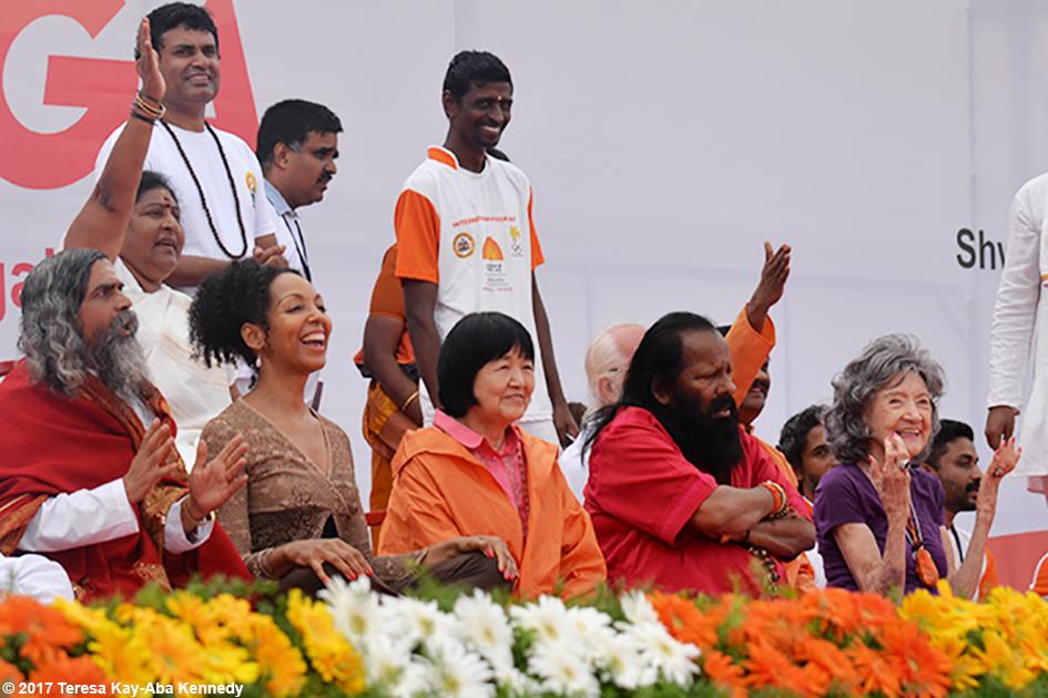 Teresa Kay-Aba Kennedy, Yogmata Keiko Aikawa, Pilot Baba, 98-year-old yoga master Tao Porchon-Lynch and others on stage at International Day of Yoga at Kanteerava Outdoor Stadium in Bangalore, India - June 21, 2017