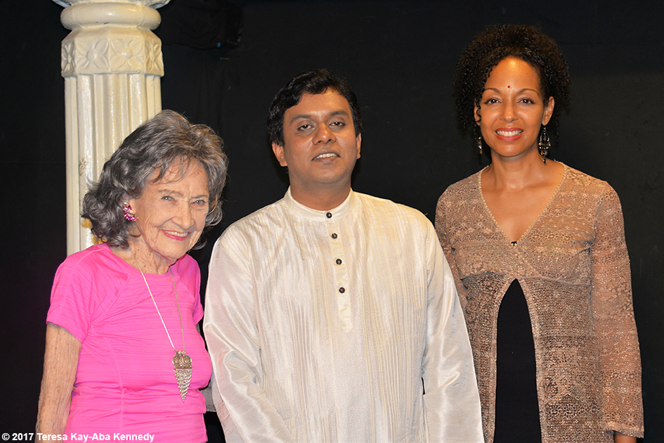 98-year-old yoga master Tao Porchon-Lynch and Teresa Kay-Aba Kennedy with the host of TV9 in Bangalore, India - June 21, 2017