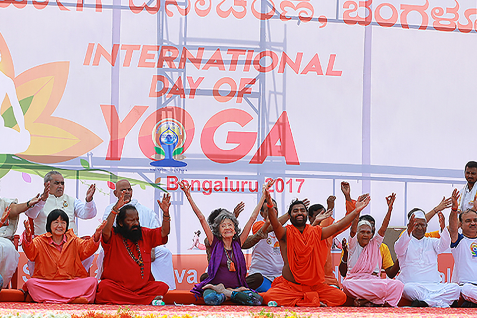 98-year-old yoga master Tao Porchon-Lynch participating in International Day of Yoga in Bangalore, India - June 21, 2017