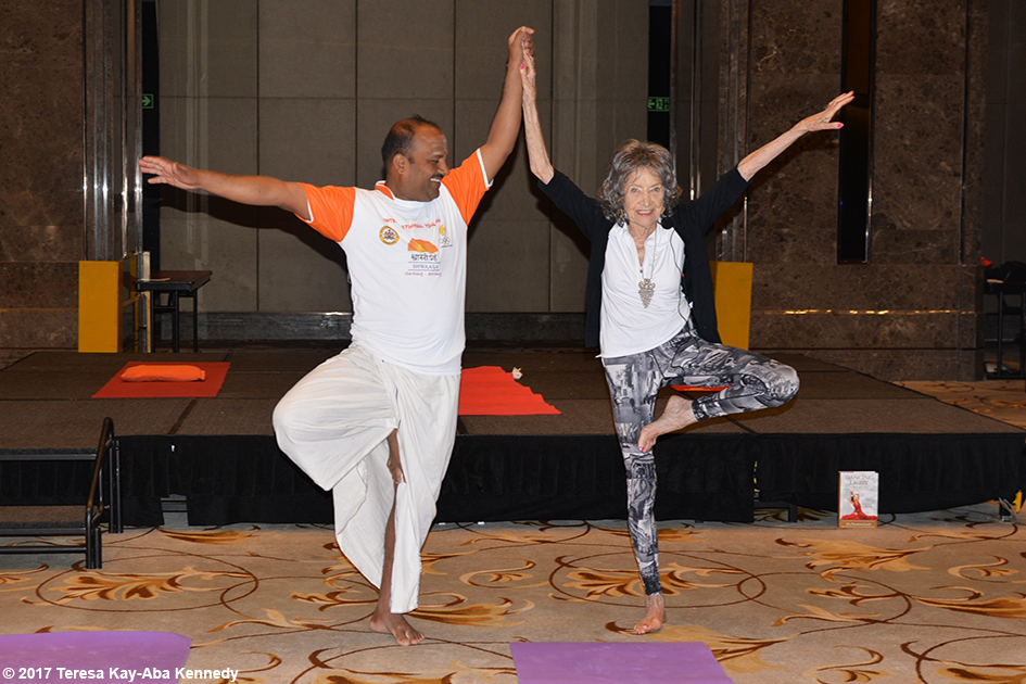 98-year-old yoga master Tao Porchon-Lynch teaching an early morning yoga class in Bangalore, India - June 23, 2017