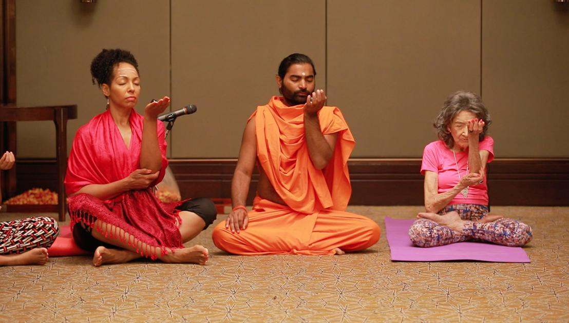 Teresa Kay-Aba Kennedy, Shwaasa Guru and 98-year-old yoga master Tao Porchon-Lynch doing an Isthalinga Meditation in Bangalore, India - June 24, 2018