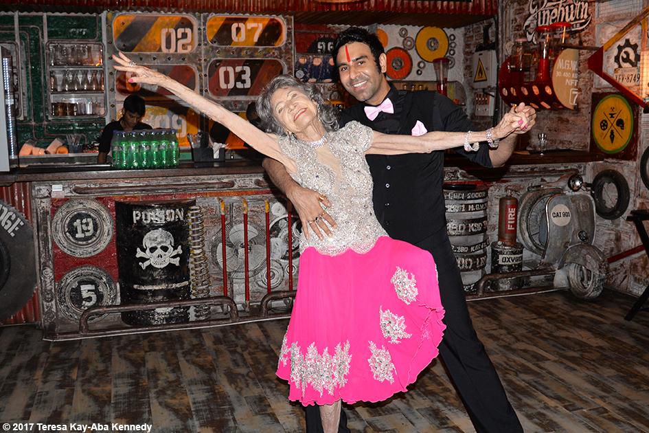 98-year-old yoga master Tao Porchon-Lynch dancing with dancer and choreographer Sandip Soparrkar in Mumbai, India - June 27, 2017