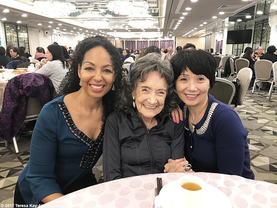 Teresa Kay-Aba Kennedy, 99-year-old yoga master Tao Porchon-Lynch and Regina Lee in Hong Kong – December 16, 2017
