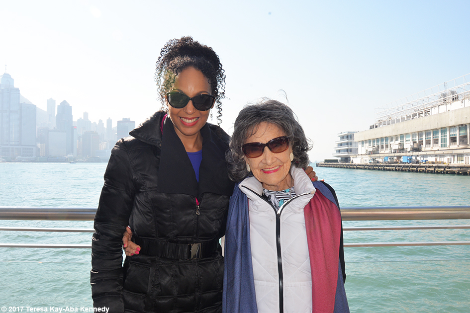 Teresa Kay-Aba Kennedy and 99-year-old yoga master Tao Porchon-Lynch at Star Ferry Harbour in Hong Kong – December 21, 2017