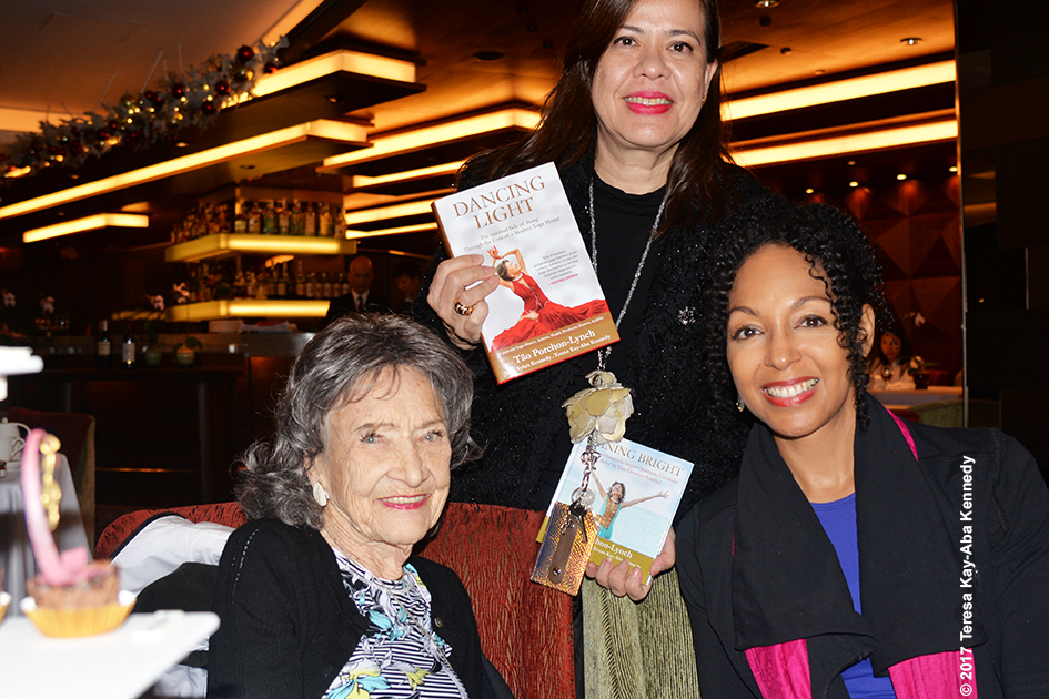 99-year-old yoga master Tao Porchon-Lynch, Michele Mitschiener and Teresa Kay-Aba Kennedy in Hong Kong – December 21, 2017
