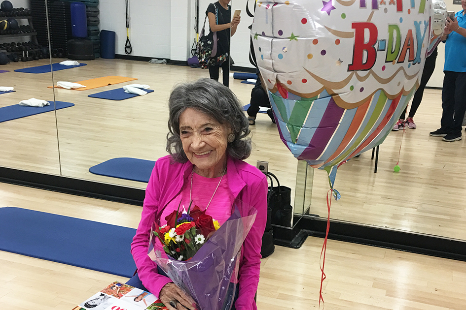 100-year-old Tao Porchon-Lynch at birthday celebration at JCC Westchester - August 2018