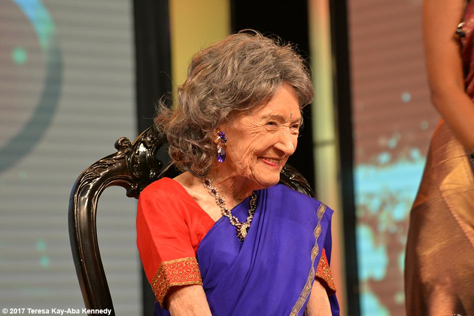 98-year-old Historical Icon and Yoga Master Tao Porchon-Lynch receiving Yoga Ratna Award in Bangalore, India - 2017