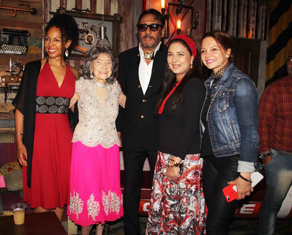98-year-old Tao Porchon-Lynch with Teresa Kay-Aba Kennedy, Jackie Shroff and Sharbani Mukherji at Tao's World Book of Records celebration at the Junkyard Cafe in Mumbai, India - June 27, 2017
