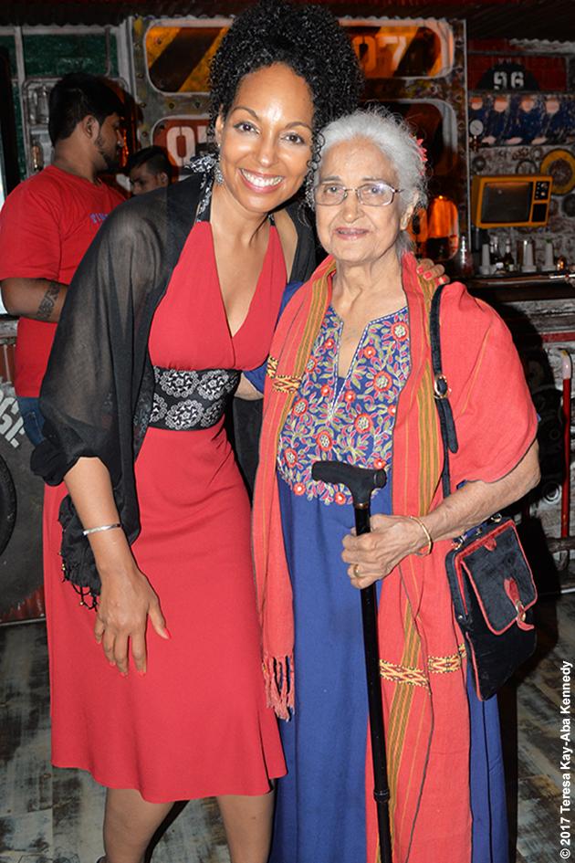 Teresa Kay-Aba Kennedy and Kamini Kaushal at Tao Porchon-Lynch's World Book of Records celebration at Junkyard Cafe in Mumbai, India - June 27, 2017