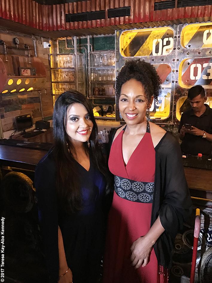 Teresa Kay-Aba Kennedy and First Lady Amruta Fadnavis at Tao Porchon-Lynch's World Book of Records celebration at the Junkyard Cafe in Mumbai, India - June 27, 2017