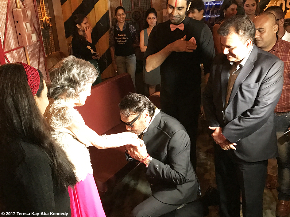 98-year-old Tao Porchon-Lynch being greeted by Bollywood star Jackie Shroff at her World Book of Records celebration at the Junkyard Cafe in Mumbai, India - June 27, 2017