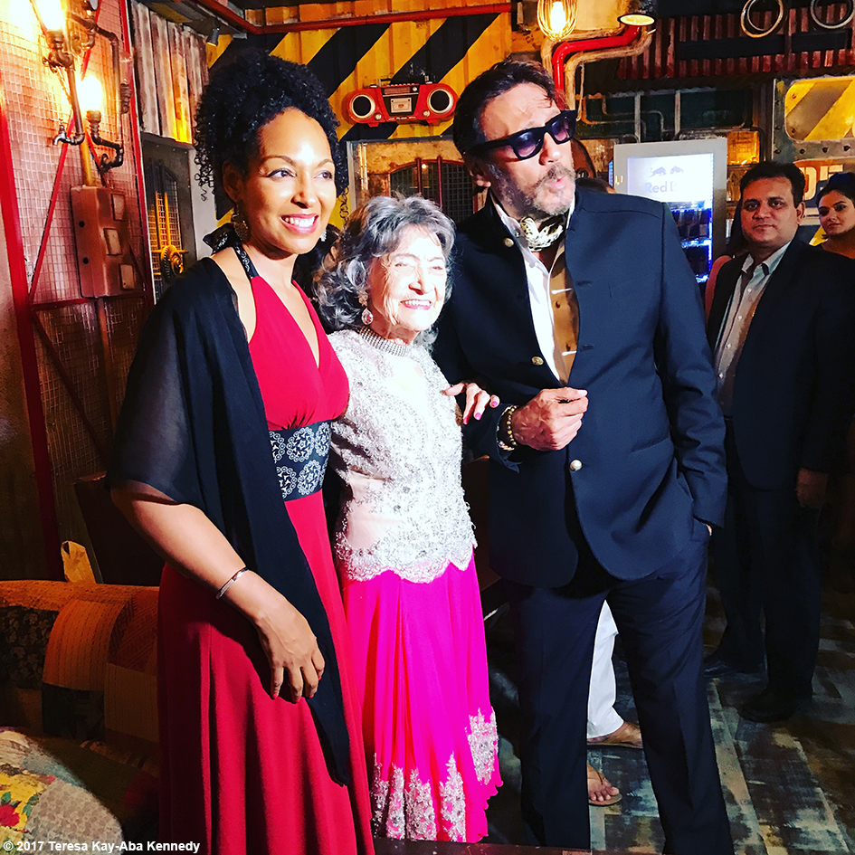 98-year-old Tao Porchon-Lynch with Teresa Kay-Aba Kennedy and Jackie Shroff at Tao's World Book of Records celebration at the Junkyard Cafe in Mumbai, India - June 27, 2017