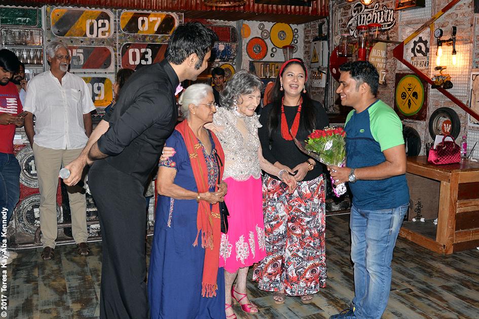 98-year-old yoga master Tao Porchon-Lynch with Sandip Soparrkar, Kamini Kaushal, Sharbani Mukherji and Teresa Kay-Aba Kennedy at Tao's World Book of Records celebration at Junkyard Cafe in Mumbai, India - June 27, 2017