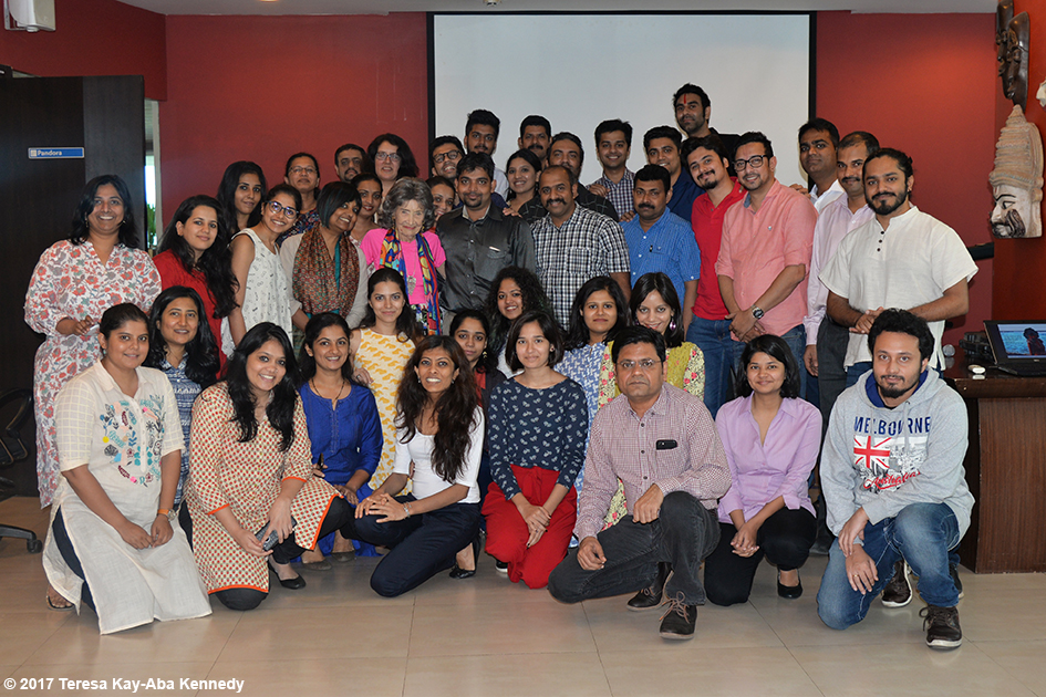 Employees at HPI after a Conversation with a Master with 98-year-old Tao Porchon-Lynch and moderated by Teresa Kay-Aba Kennedy in Mumbai, India - June 26, 2017