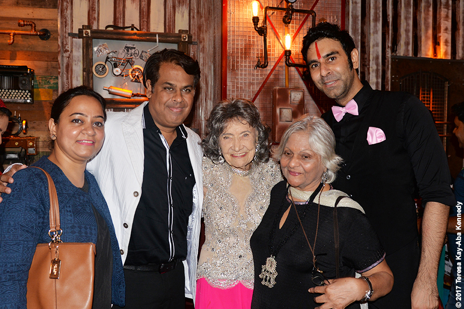 98-year-old Tao Porchon-Lynch with Kumkum Somani, Sandip Soparrkar and others at Tao's World Book of Records celebration at Junkyard Cafe in Mumbai, India - June 27, 2017