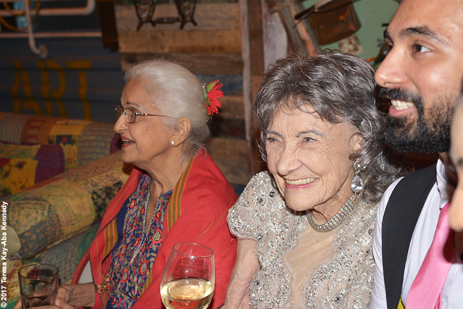 90-year-old actress Kamini Kaushal and 98-year-old Tao Porchon-Lynch with others at Tao's World Book of Records celebration at Junkyard Cafe in Mumbai, India - June 27, 2017