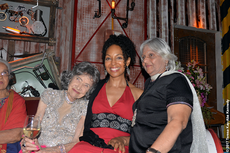 98-year-old yoga master Tao Porchon-Lynch with Kamini Kaushal, Teresa Kay-Aba Kennedy and Kumkum Somani at Tao's World Book of Records celebration at Junkyard Cafe in Mumbai, India - June 27, 2017