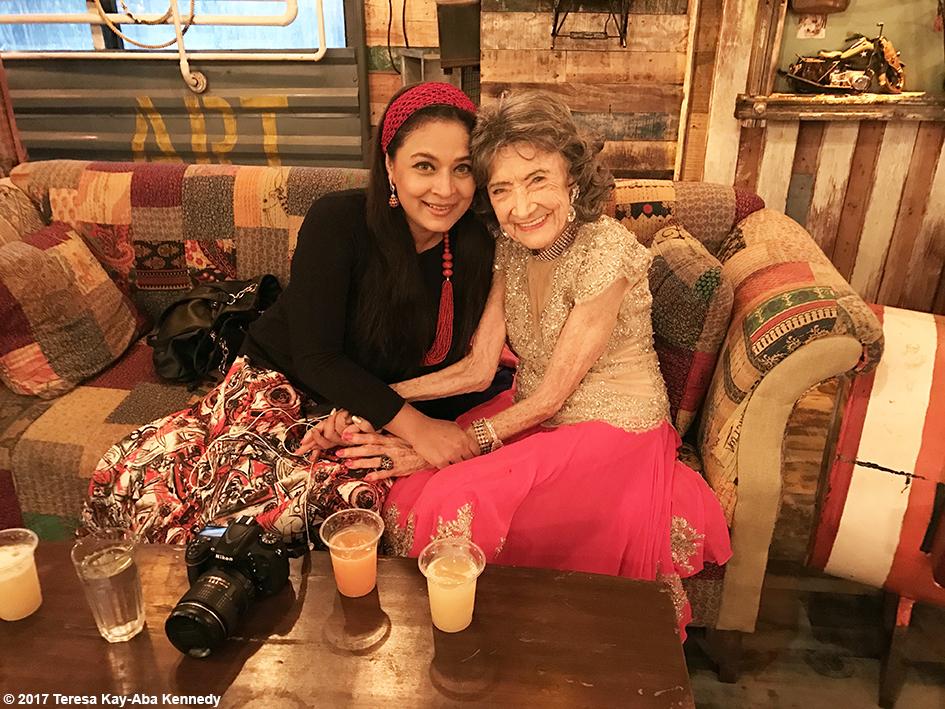 98-year-old Tao Porchon-Lynch with Sharbani Mukherji at Tao's World Book of Records celebration at the Junkyard Cafe in Mumbai, India - June 27, 2017