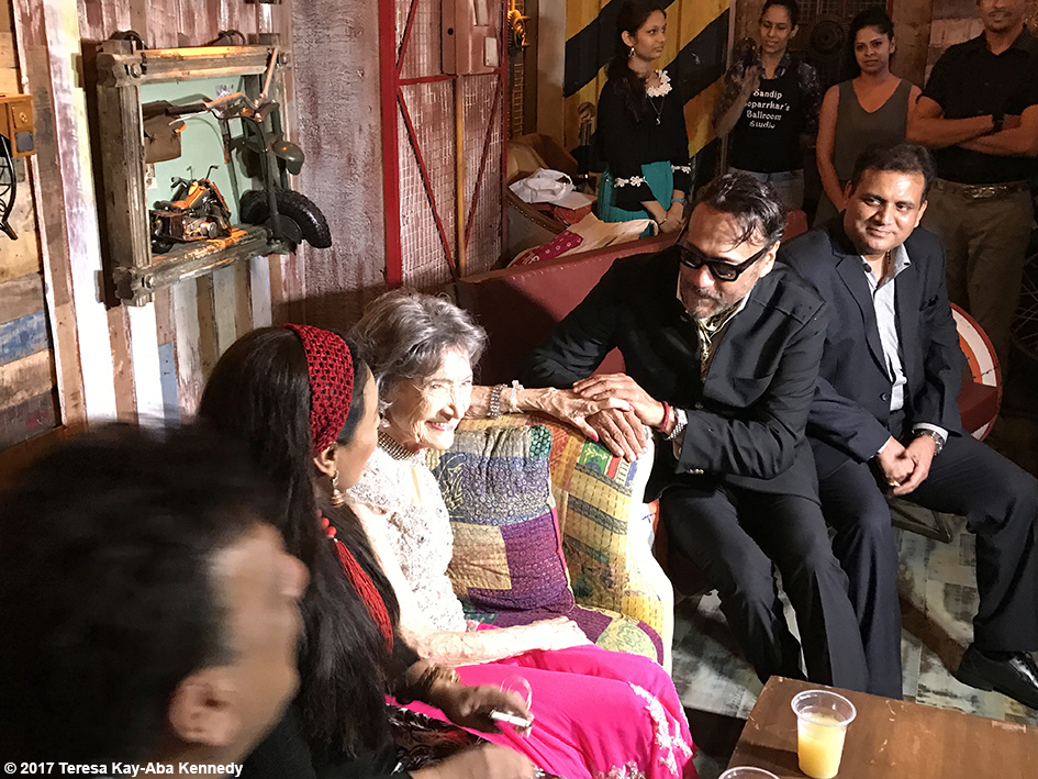 98-year-old Tao Porchon-Lynch with Jackie Shroff, Sharbani Mukherji and others at Tao's World Book of Records celebration at the Junkyard Cafe in Mumbai, India - June 27, 2017