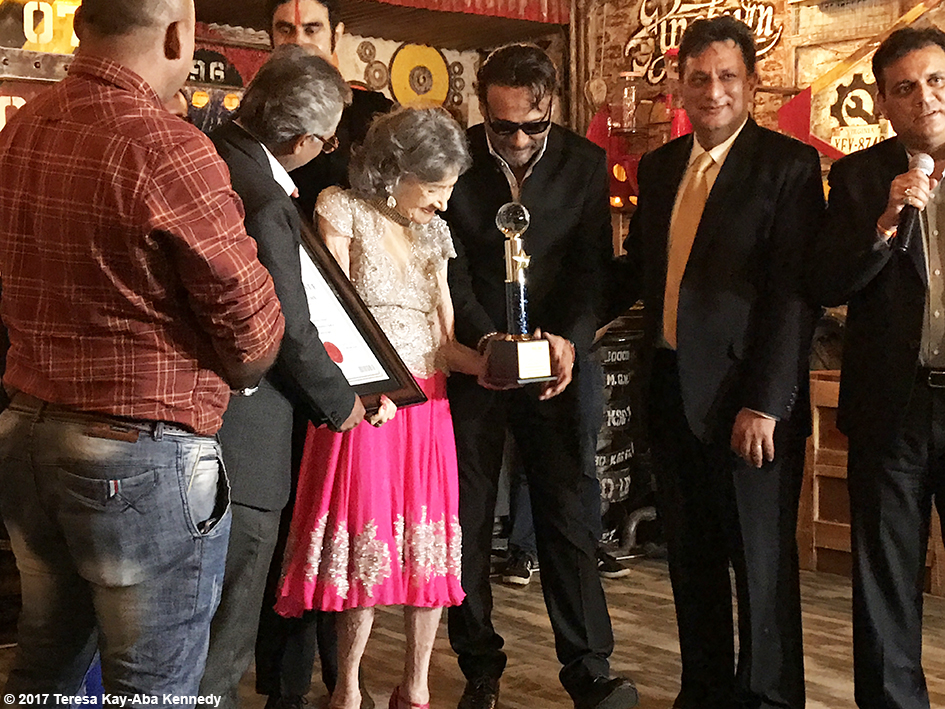 98-year-old Tao Porchon-Lynch being presented the World Book of Records for Oldest Ballroom Dancer by Jackie Shroff and others at the Junkyard Cafe in Mumbai, India - June 27, 2017