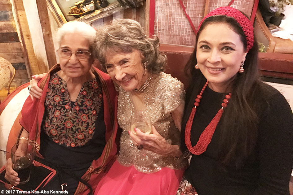 98-year-old yoga master Tao Porchon-Lynch with Kamini Kaushal and Sharbani Mukherj at Tao's World Book of Records celebration at Junkyard Cafe in Mumbai, India - June 27, 2017