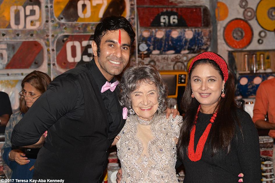 98-year-old yoga master Tao Porchon-Lynch with Sandip Soparrkar and Sharbani Mukherj at Tao's World Book of Records celebration at Junkyard Cafe in Mumbai, India - June 27, 2017