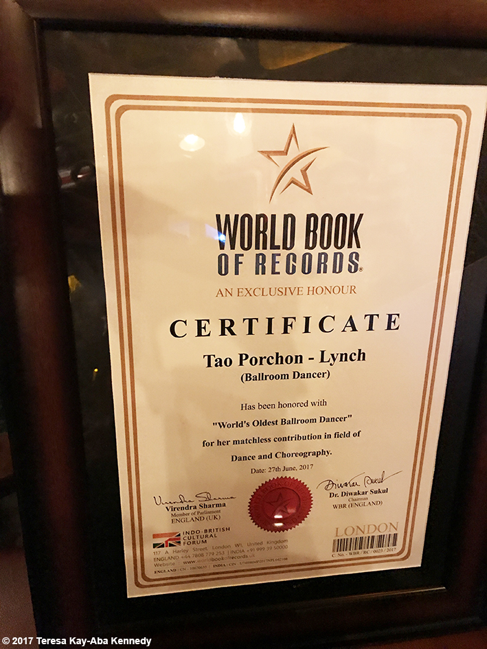 World Book of Records plaque for 98-year-old Tao Porchon-Lynch as World's Oldest Ballroom Dancer during celebration at the Junkyard Cafe in Mumbai, India - June 27, 2017