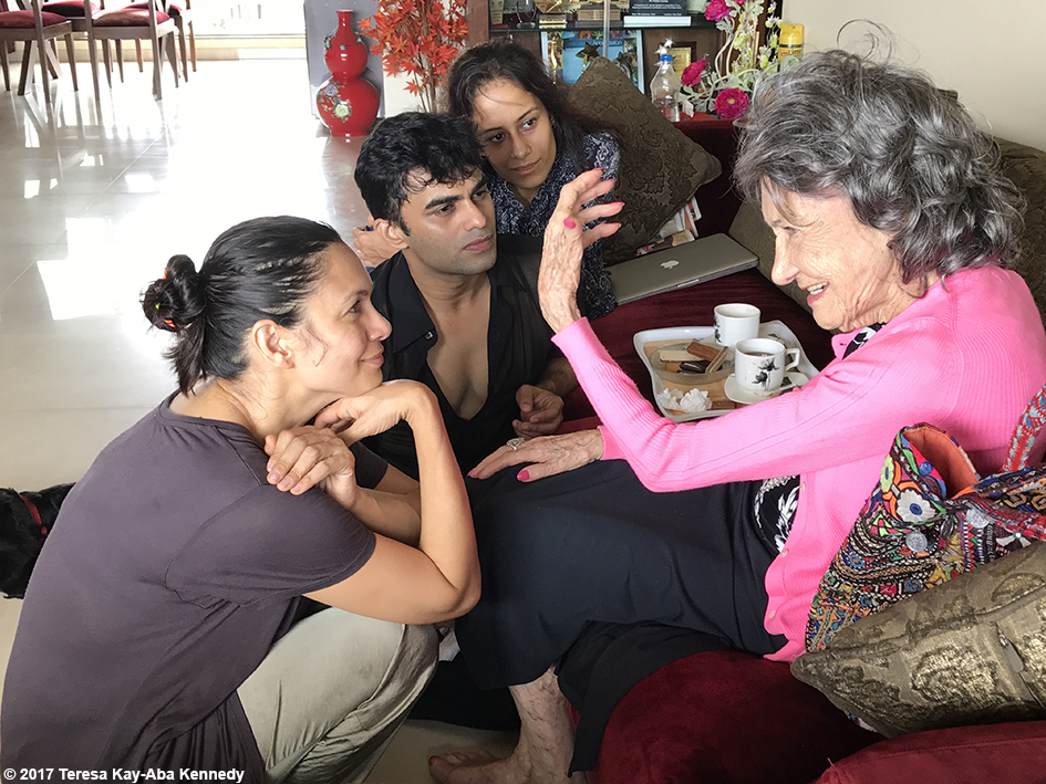 98-year-old Tao Porchon-Lynch talking with dancers at the home of dancer and choreographer Sandip Soparrkar in Mumbai, India - June 25, 2017
