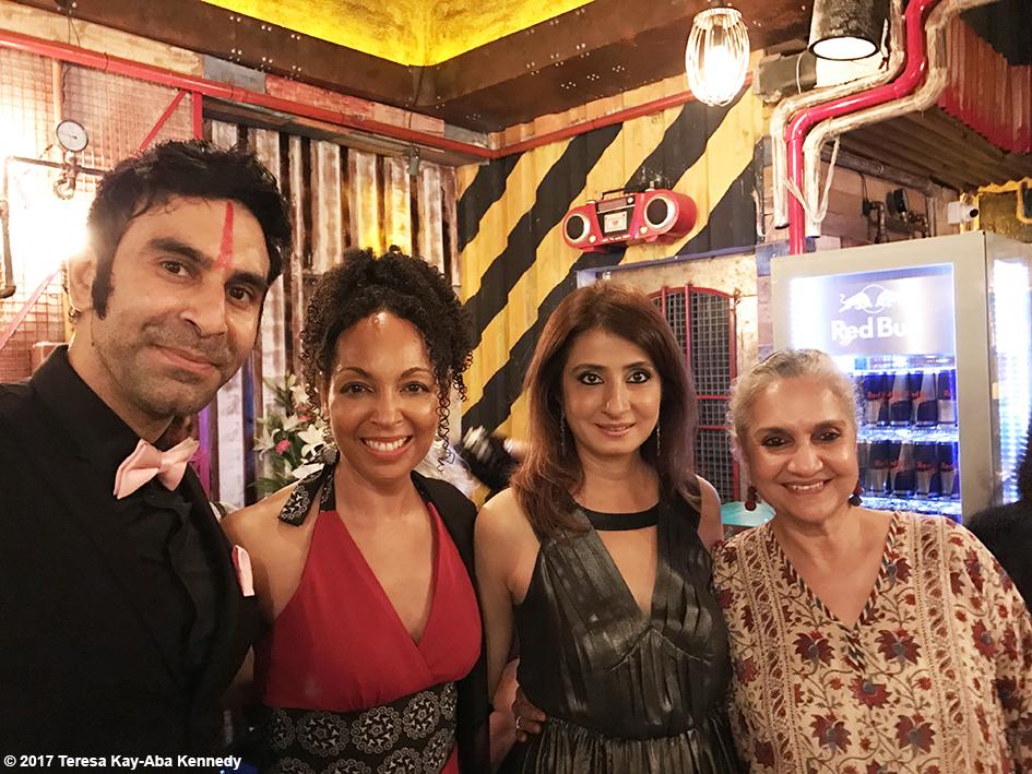 Sandip Soparrkar, Teresa Kay-Aba Kennedy and Salome Roy Kapur at Tao Porchon-Lynch's World Book of Records celebration at the Junkyard Cafe in Mumbai, India - June 27, 2017