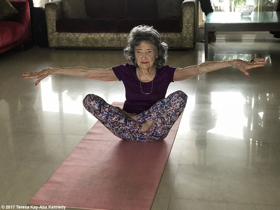 98-year-old Tao Porchon-Lynch doing yoga for media interview at the home of Sandip Soparrkar in Mumbai, India - June 26, 2017